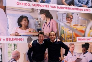 Wesley Buitenhuis (Okeedo, links) en Hans Pieter de Vries (agap2 IT) bij de lancering van de wervingsapp op vakbeurs Horecava
